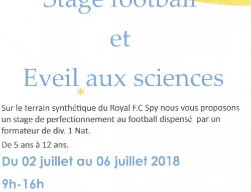Stage d'été en collaboration avec le Château d'Ice «Eveil aux sciences et Football»