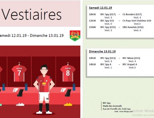 Programme matchs domicile du week-end dub12-13/01/19