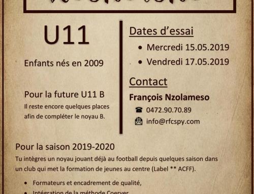 Le RFC Spy recherche des U10, enfants nés en 2009 pour compléter le noyau B