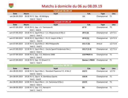 Matchs à domicile du week-end du 06 au 08/09/19