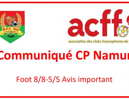 Communiqué CP Namur – Modifications calendriers foot à 3c3, 5c5 et 8c8