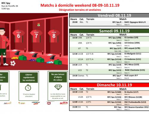 Matchs à domicile weekend du 08/11 au 10/11/19