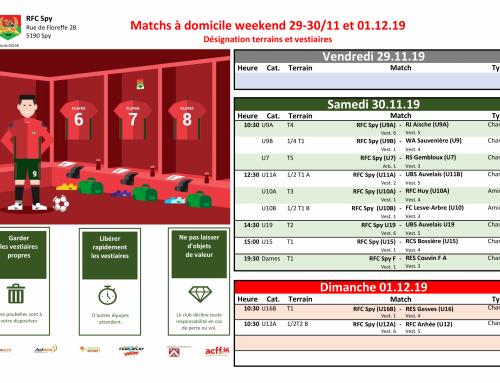 Matchs à domicile weekend du 29/11 au 01/12/19