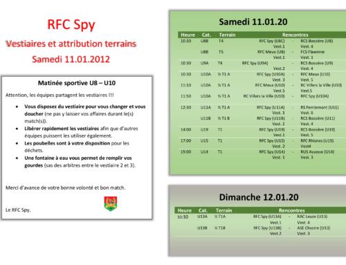 Désignations terrains et vestiaires 11-12/01/20 au stade des écureuils
